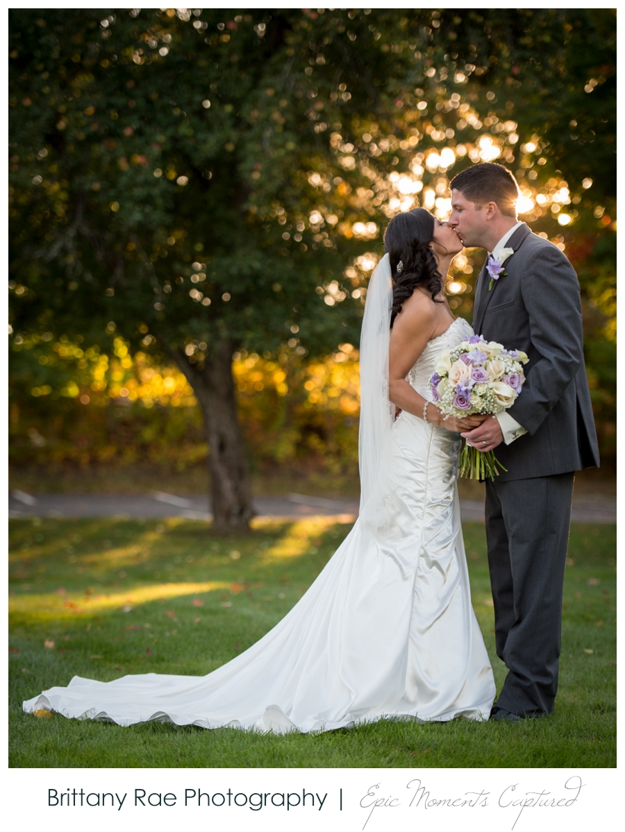 Manchester Country Club Wedding - Couple in fall trees