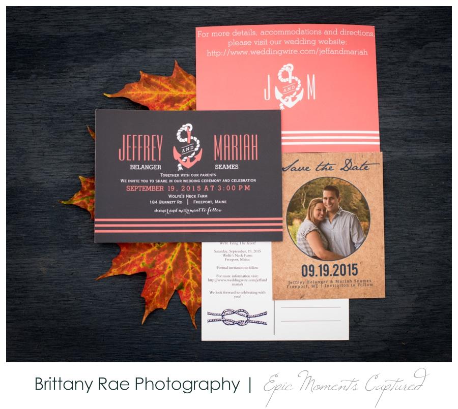 Wolfe's Neck Farm Wedding Freeport Maine - Fall themed wedding invitation