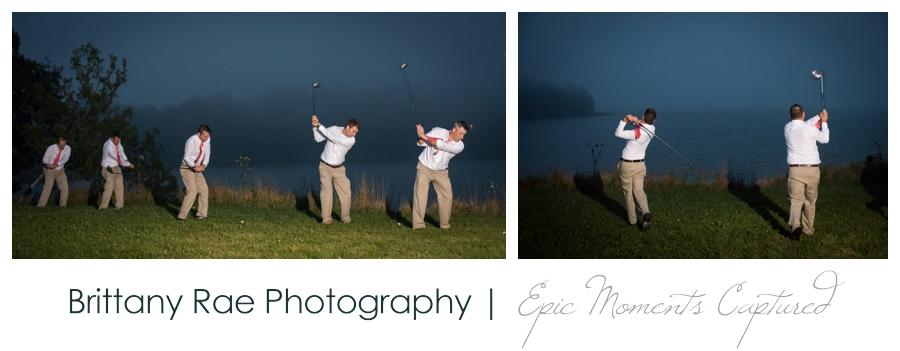 Wolfe's Neck Farm Wedding Freeport Maine - Groomsmen golfing