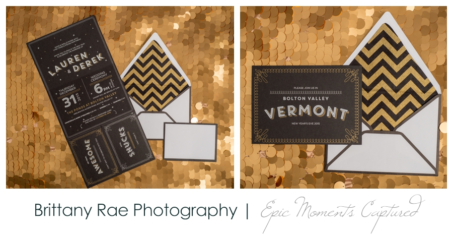 Wedding invitations by Lauren Rachel Designs - Gold Screen Printed Trifold
