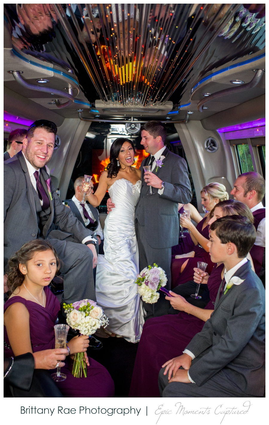 Manchester Country Club Wedding, New Hampshire - Wedding Party Bus
