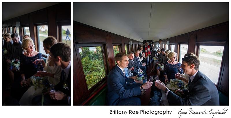 Portland Maine Wedding - Cocktails on Narrow Gauge Railroad