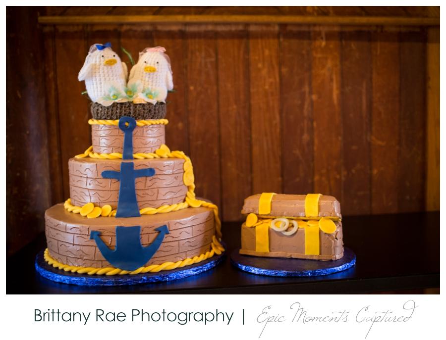 Celebration Barn Theater Wedding in Paris Maine - nautical themed wedding cake