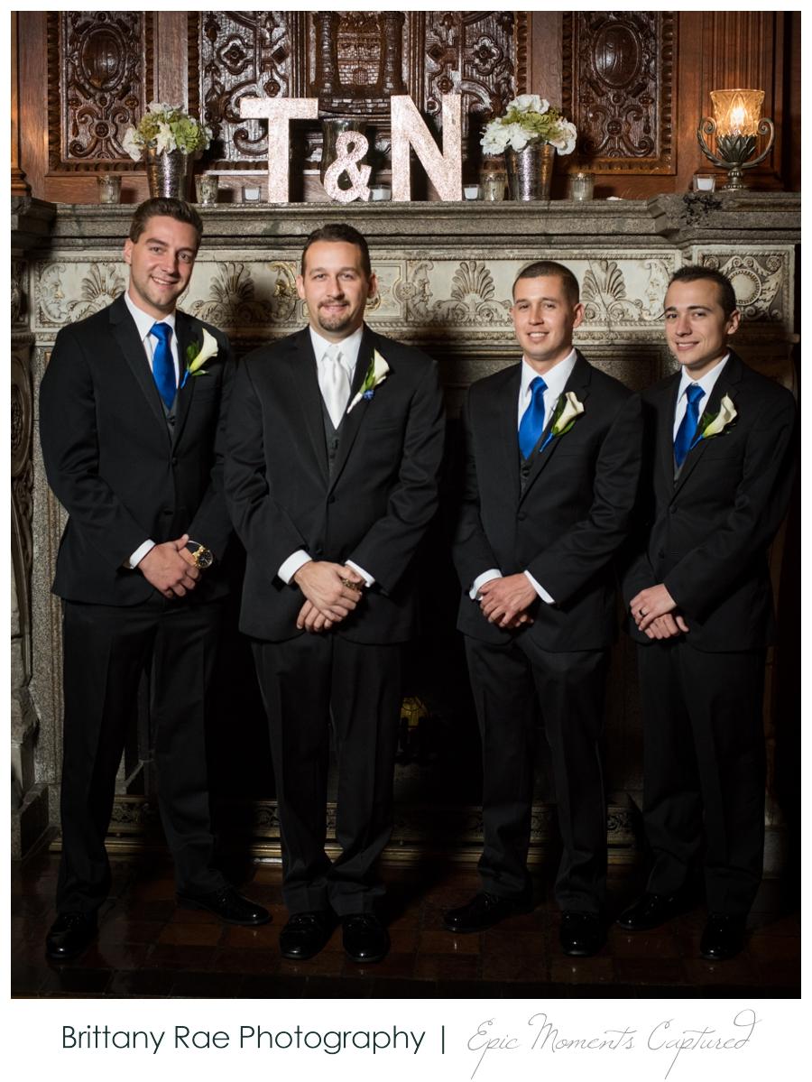 Searles Castle Wedding in Fall - Groomsmen in blue at Castle