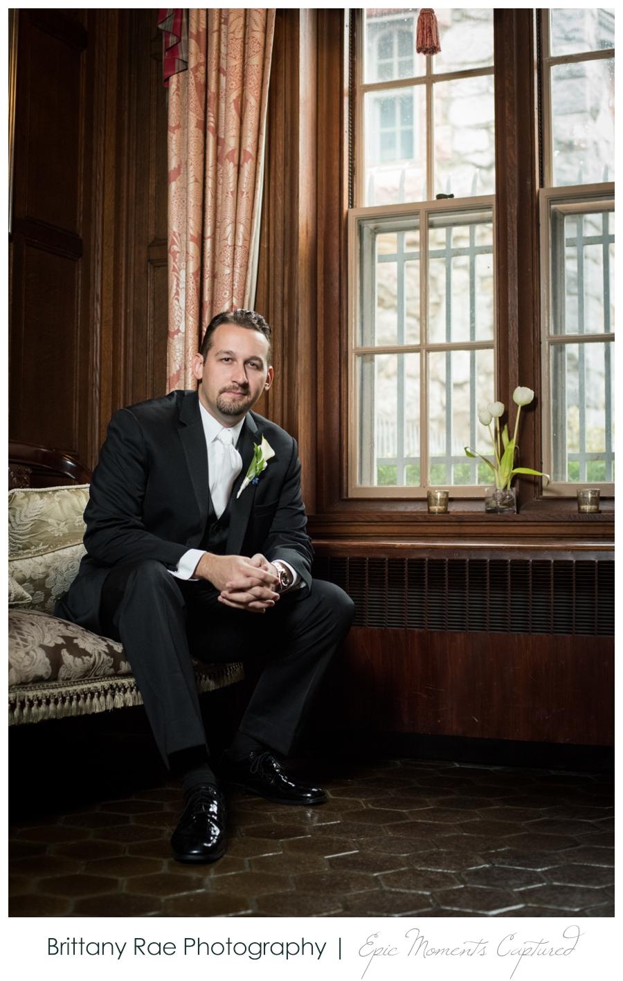Searles Castle Wedding in Fall - Groom Portrait in castle