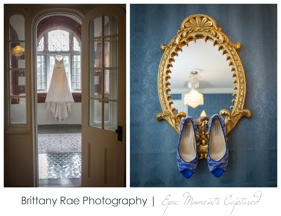 Searles Castle Wedding in Fall - Wedding Dress and Blue Wedding Shoes