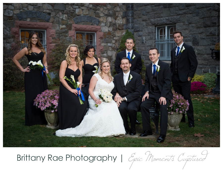 Searles Castle Wedding in Fall - Black Bridesmaid Dresses