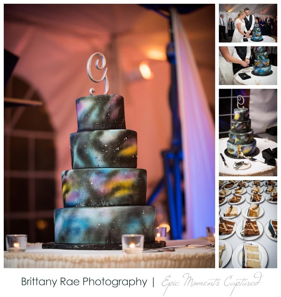Searles Castle Wedding in Fall - Galaxy Wedding cake