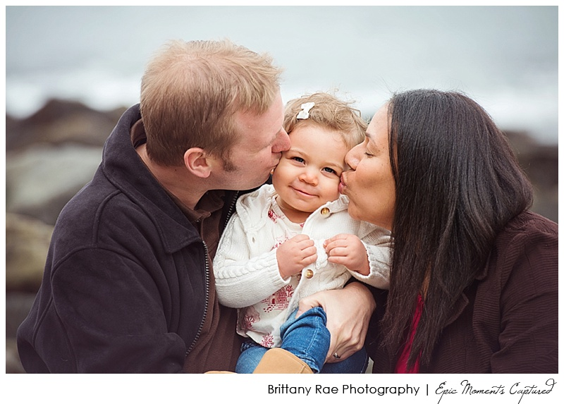 Maine Family Photographer, Portraits in the Park, Portland Head Light - Family Kiss Baby