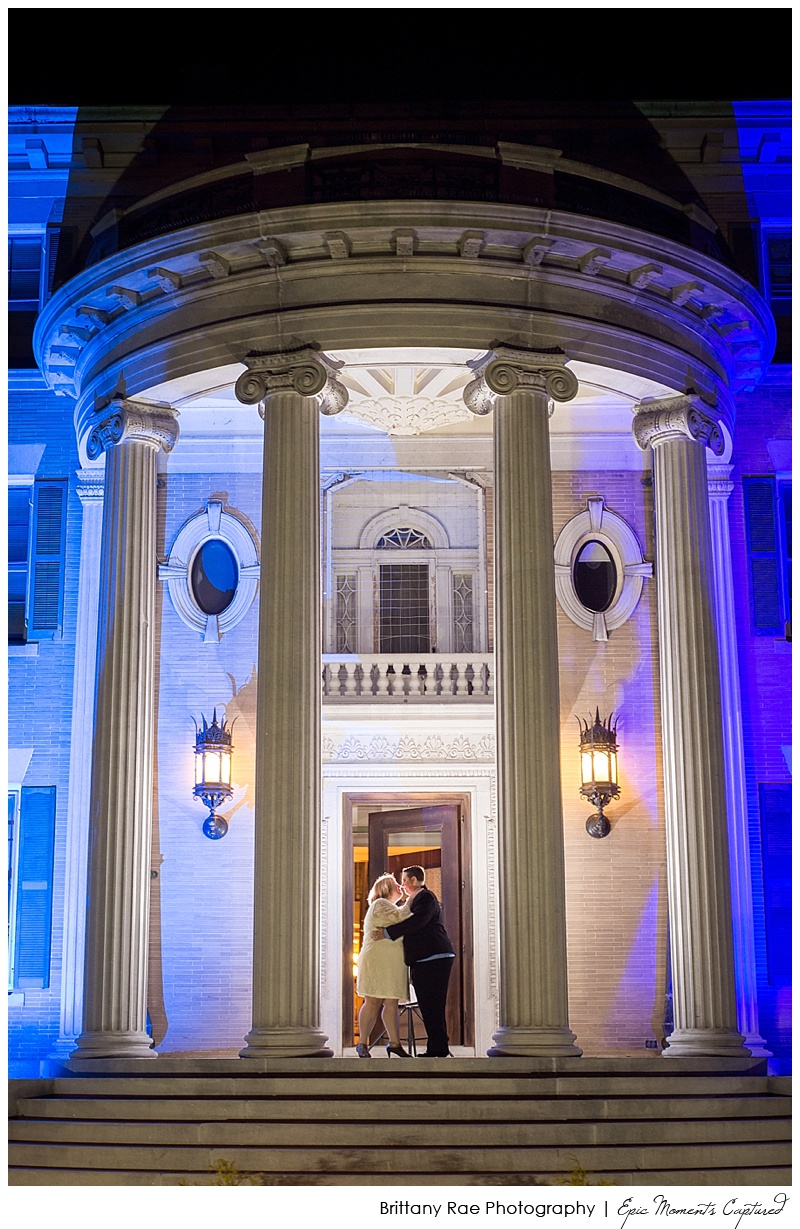 Governor hill Mansion Augusta maine - Night Wedding Portrait