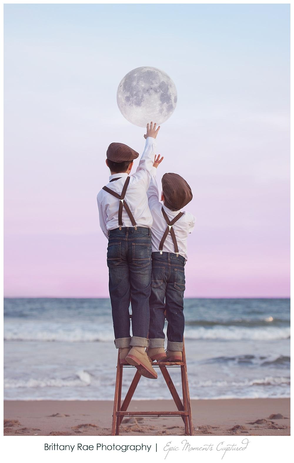 Children's Fine Art Fantasy Portraits in Maine - Pixar La Luna Hanging the Moon