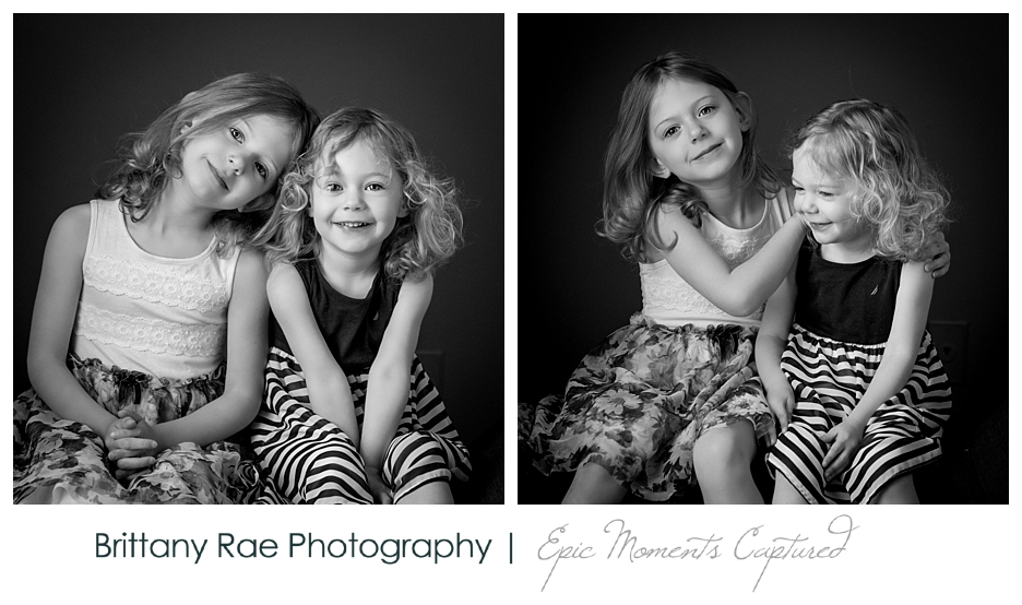 Black and White Children's Portraits in Scarborough Maine - Sisters hugging silly