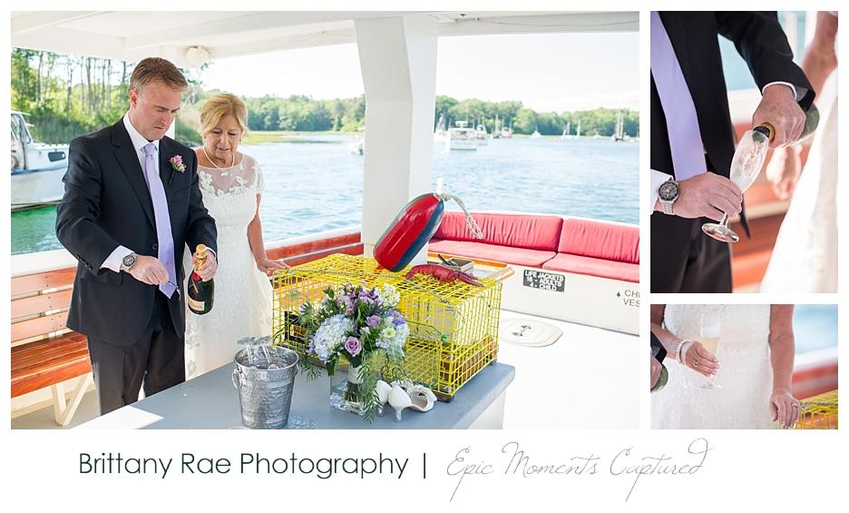 Nonantum Wedding Kennebunkport Maine - Champagne Toast on Boat