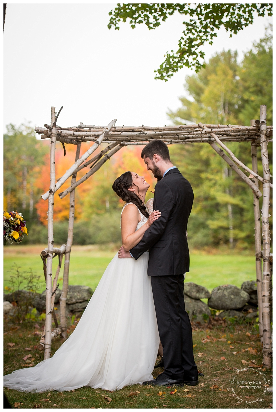 Best Wedding Photos of 2016 by Maine Wedding Photographers - Romantic First Kiss at this Kings Hill Inn and Barn Wedding