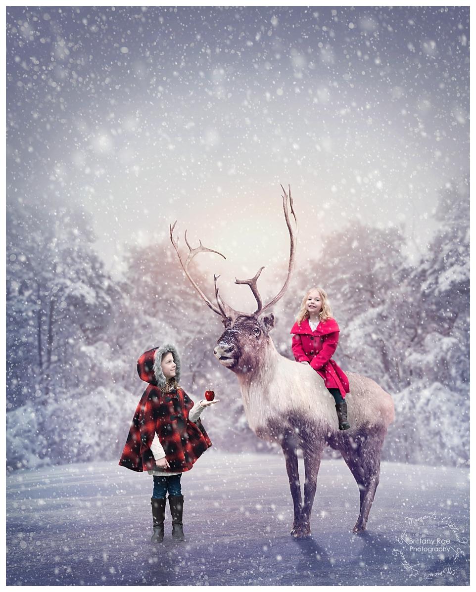 Best Family Portraits by Maine Family Photographers - Reindeer Fantasy Fine Art Christmas Card