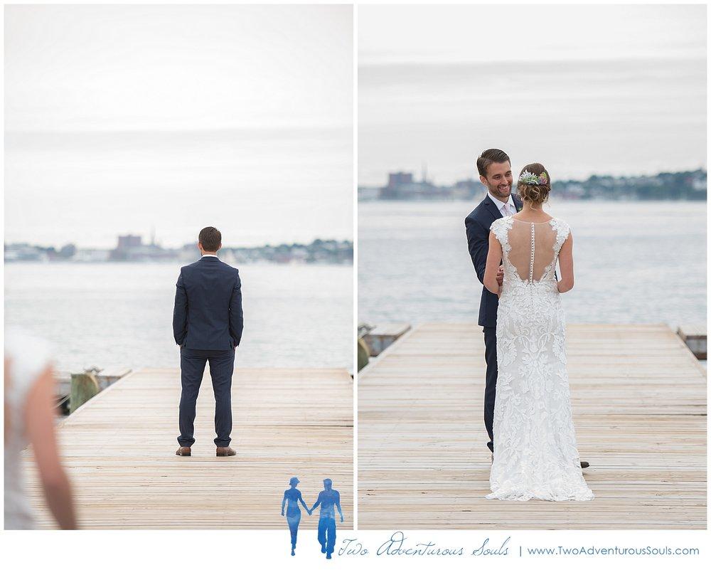 Peaks Island Wedding Photographers, Harborview at Jones Landing wedding, Portland Maine, Two Adventurous Souls_First Look on Dock