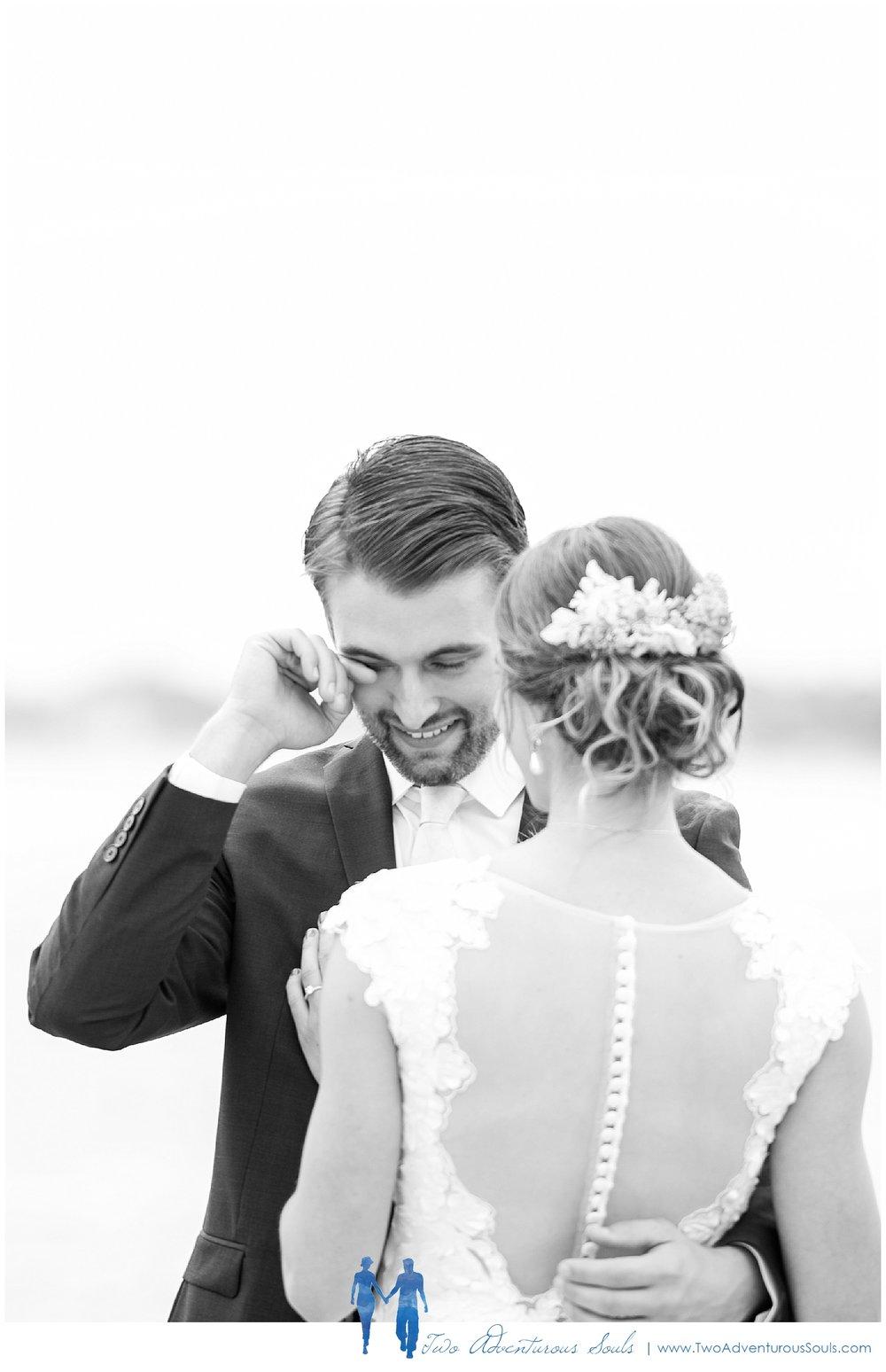 Peaks Island Wedding Photographers, Harborview at Jones Landing wedding, Portland Maine, Two Adventurous Souls_Groom Crying