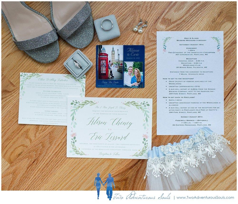 Woodlands Country Club Wedding, Maine Wedding Photographers_Greenery Wedding Invitation, Tea Party Invitation