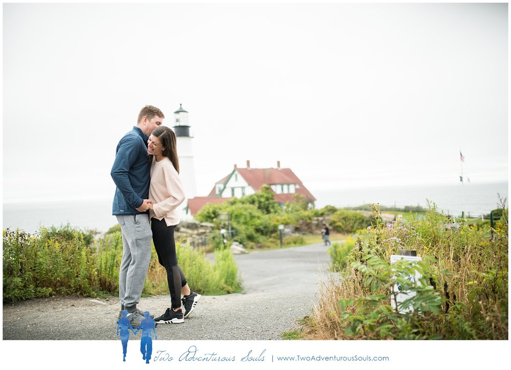 Portland Headlight Surprise Proposal by Maine Wedding Photographers - Two Adventurous Souls -
