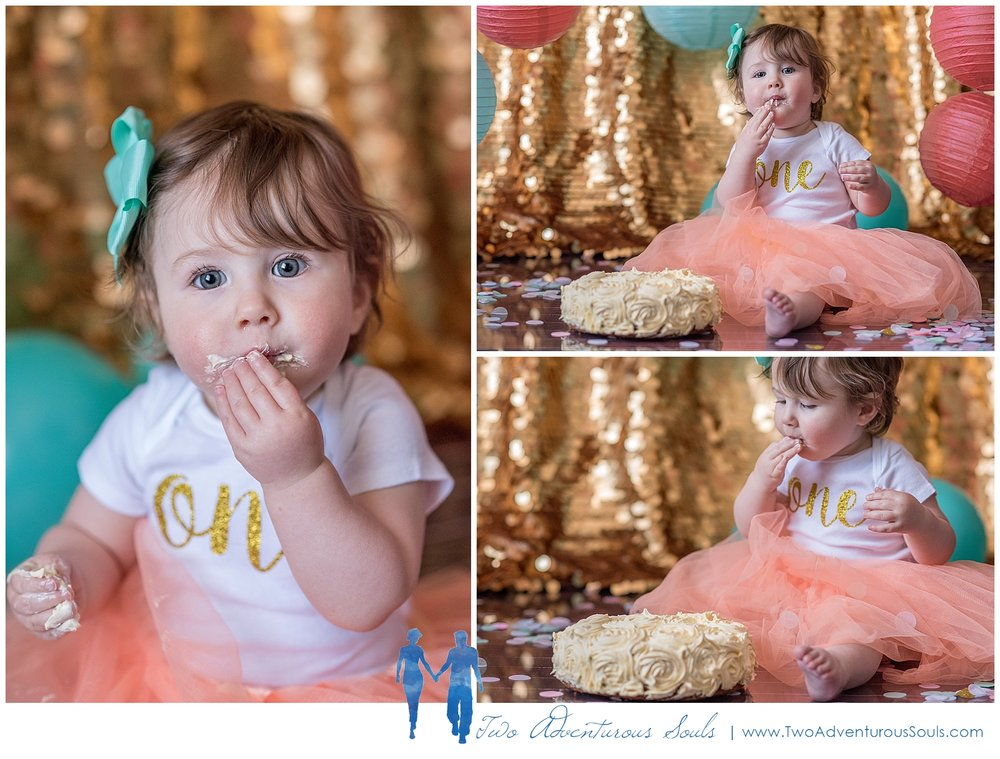 Maine Family Photographer, Two Adventurous Souls - Gold and Teal Cake Smash Session - 2