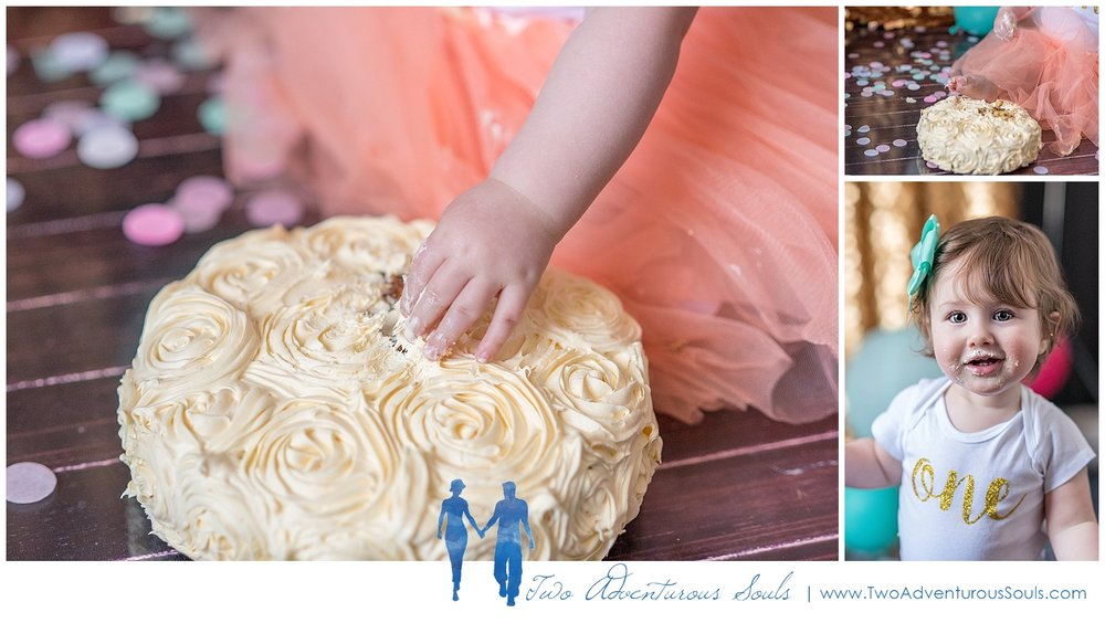 Maine Family Photographer, Two Adventurous Souls - Gold and Teal Cake Smash Session - 4