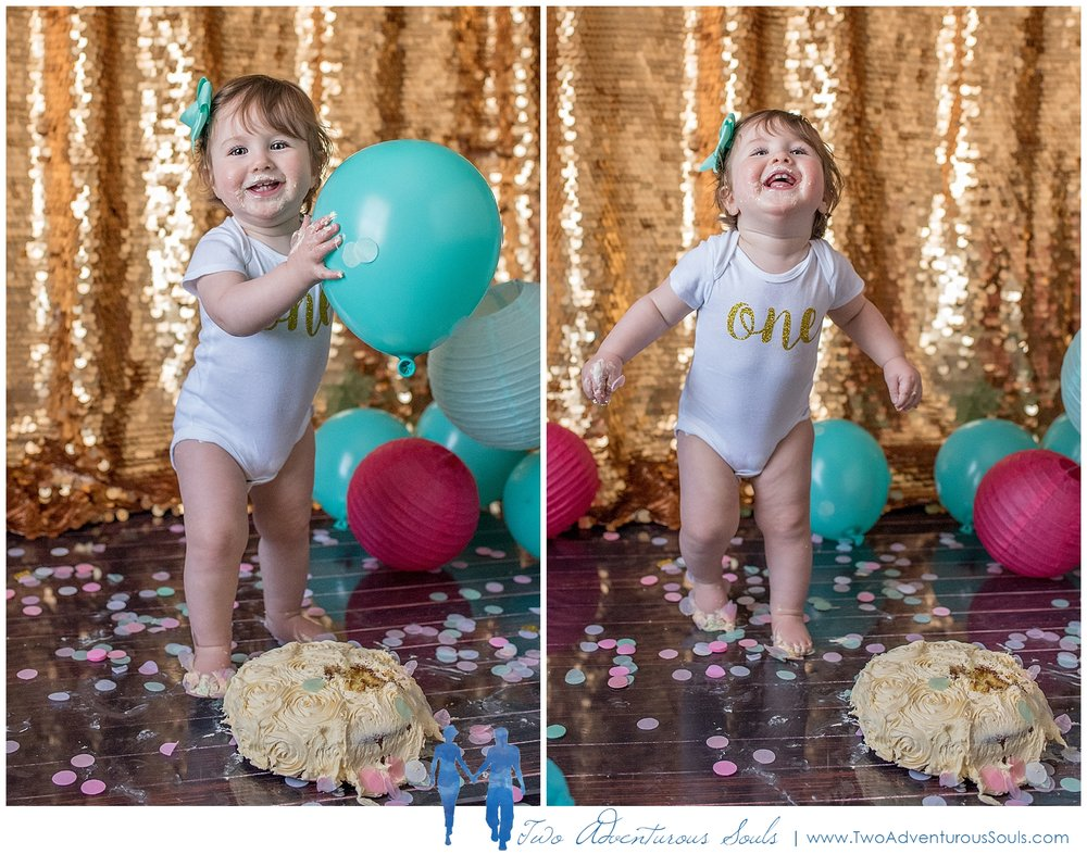 Maine Family Photographer, Two Adventurous Souls - Gold and Teal Cake Smash Session - 5
