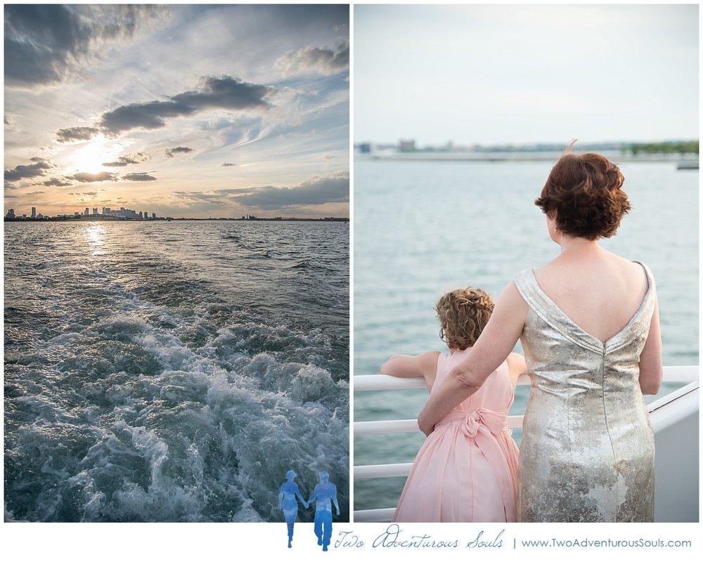 Seaport Elite Yacht Wedding, Boston Wedding Photographers, Two Adventurous Souls_Sunset on Boston Harbor