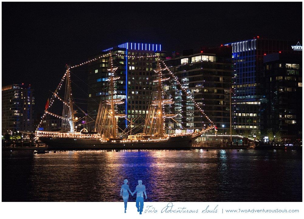 Seaport Elite Yacht Wedding, Boston Wedding Photographers, Two Adventurous Souls_Boston Harbor at Night