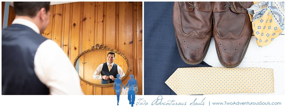 The Landing at Pine Point Wedding by Scarborough Maine Wedding Photographers - Navy and Yellow Groom Attire