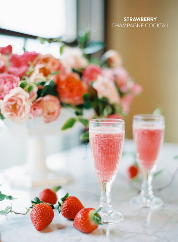 Strawberry Champagne Cocktail - Photo via    stylemepretty.com