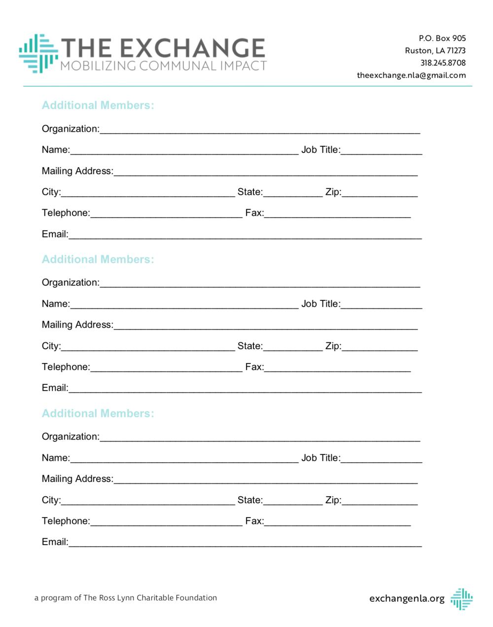 Additional member form