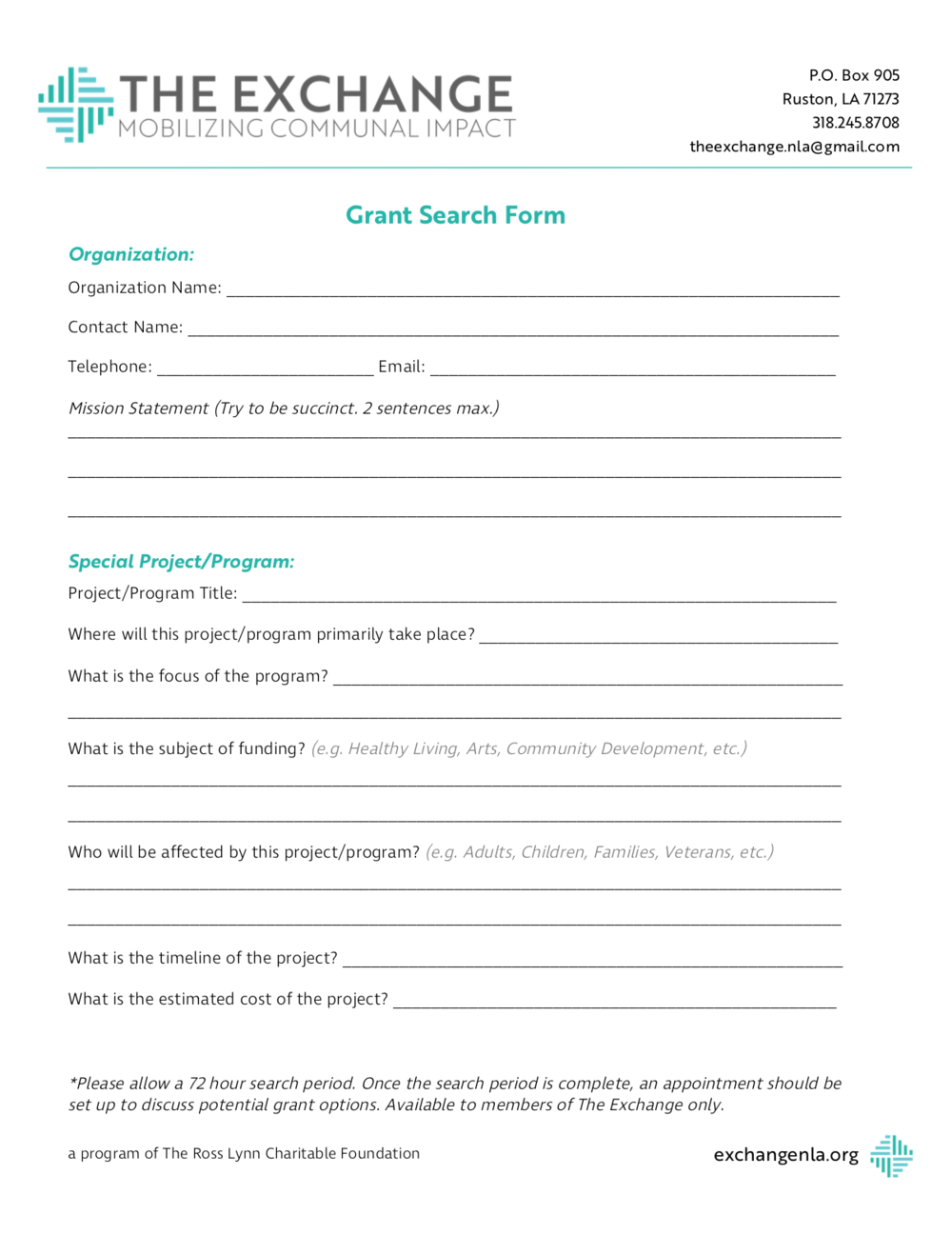 Grant Search form