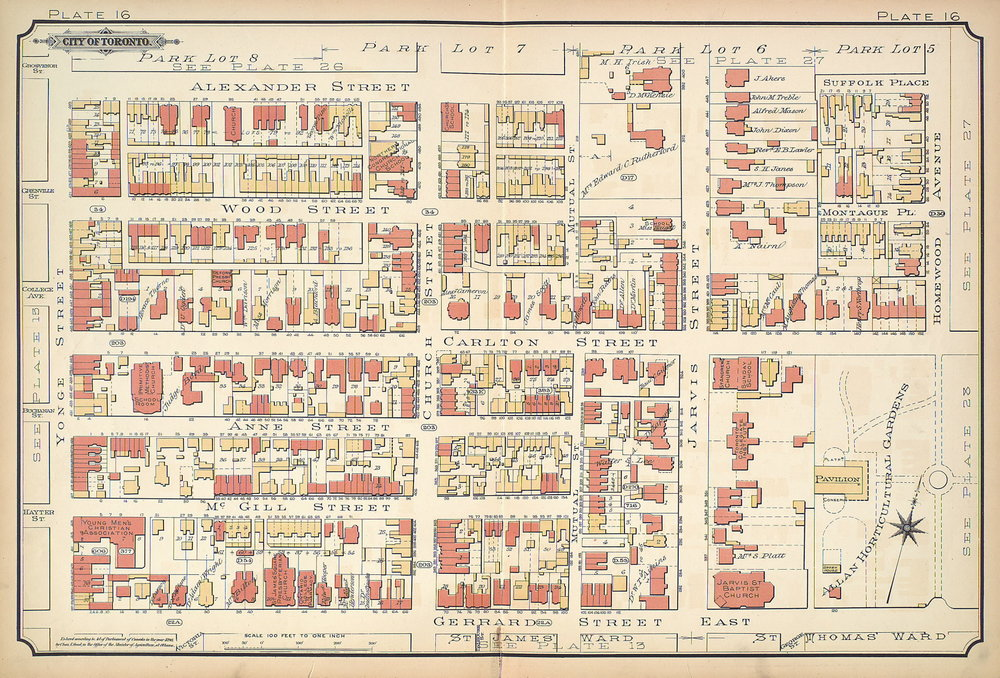Jarvis Street, Map of Toronto, 1890
