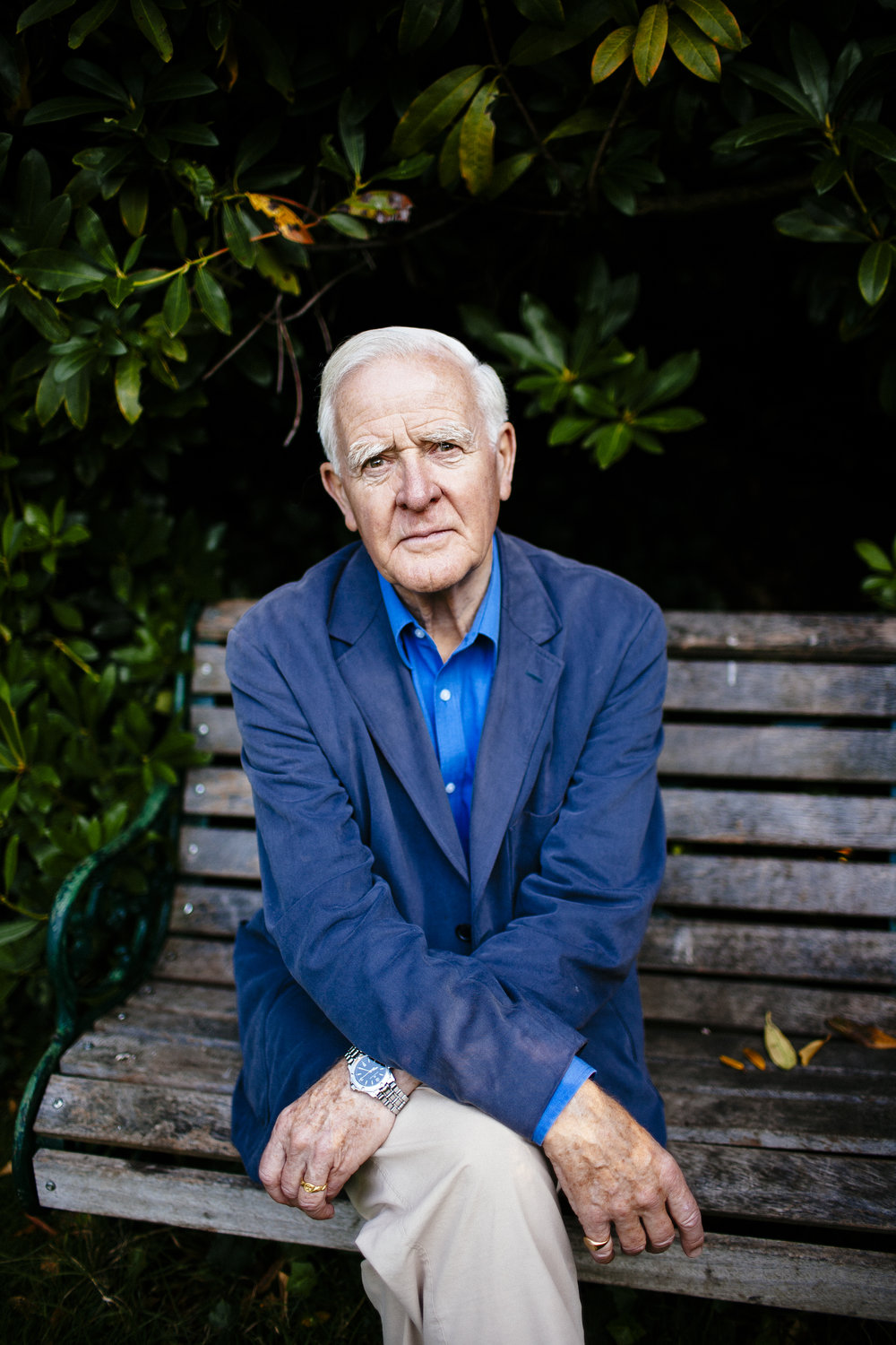 British author David Cornwell, who goes by the pen name John le Carré, poses for a photograph on a bench near his home in Hampstead, London, Thursday, Sept. 25, 2008. (David Azia for The New York Times)