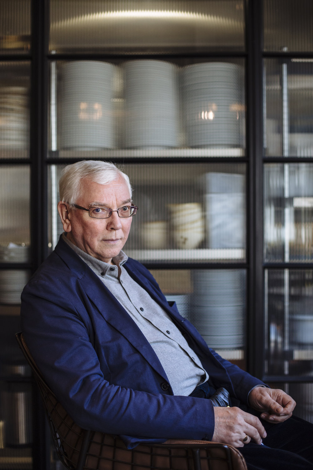 British director Terence Davies poses for a photograph inside the Stephen St Kitchen at the British Film Institute, London, England, Wednesday, May 4, 2016. (David Azia for The New York Times)