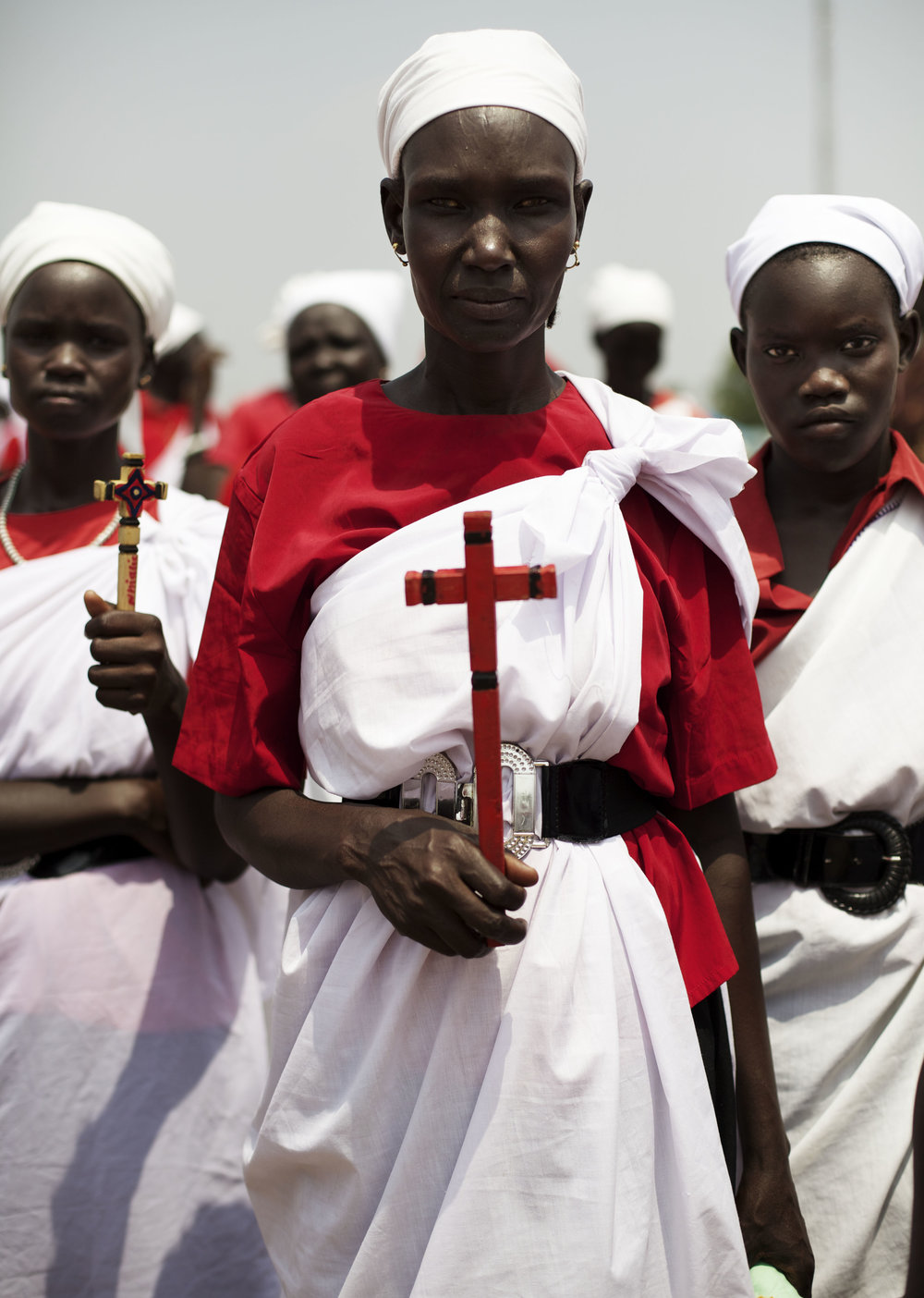Women from Jonglei state pose for a photograph as they gather ahead of a rehearsal for independence celebrations in Juba, southern Sudan, Thursday, July 7, 2011. (AP Photo/David Azia)