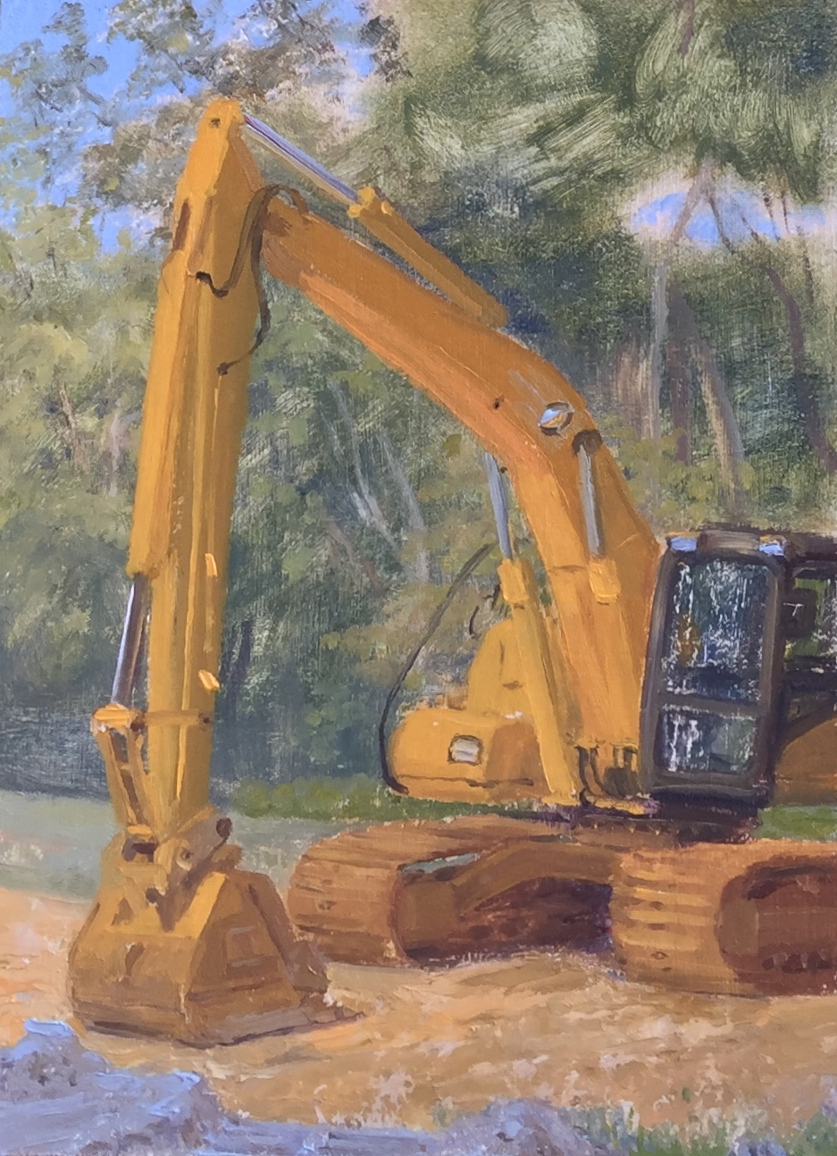 Back Hoe Digger Oil on panel 8 by 6 inches 2016