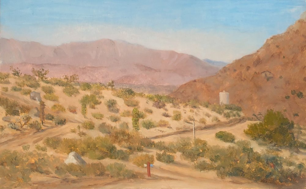 Joshua Tree Front Yard Oil on panel 5 by 8 inches 2017