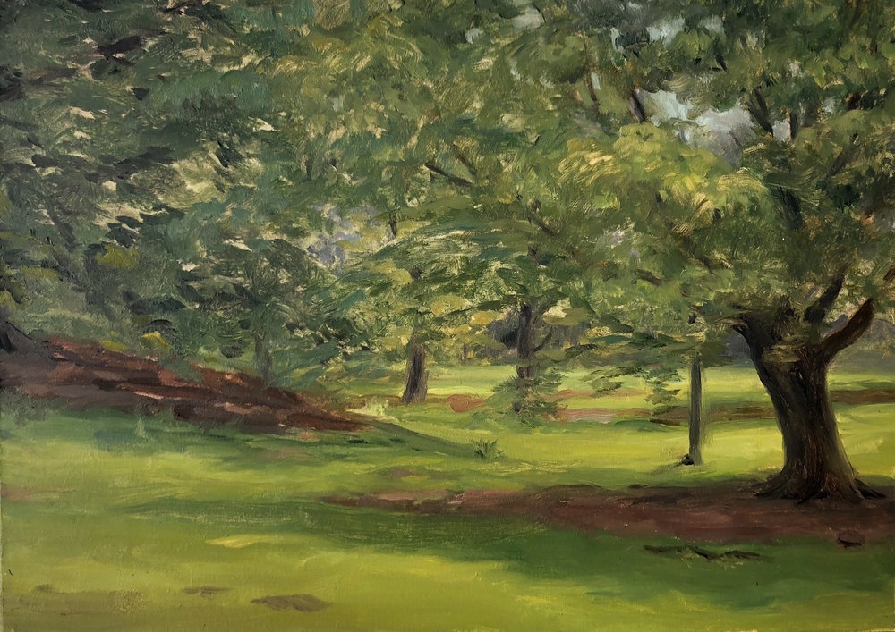 Prospect Park #3 Oil on panel 5 by 8 inches 2018
