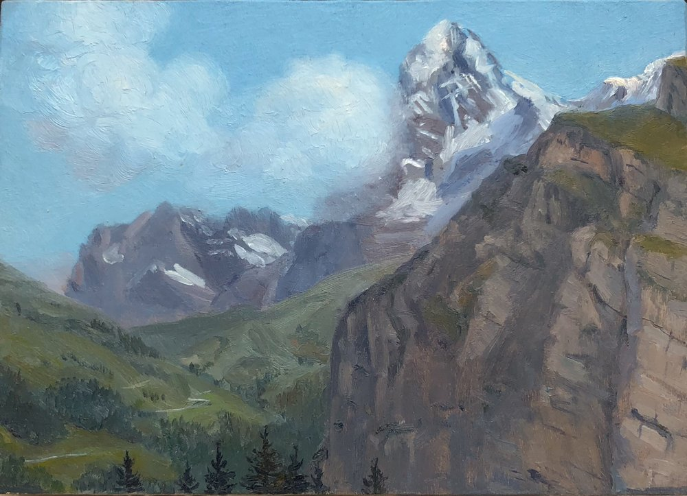 Eiger Oil on silk mounted on board 5 by 7 inches 2016