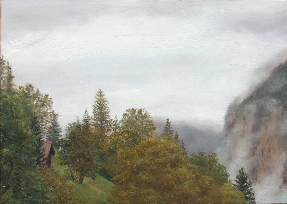 View of the Breithorn from Wengen Oil on silk mounted on board 5 by 7 inches 2016