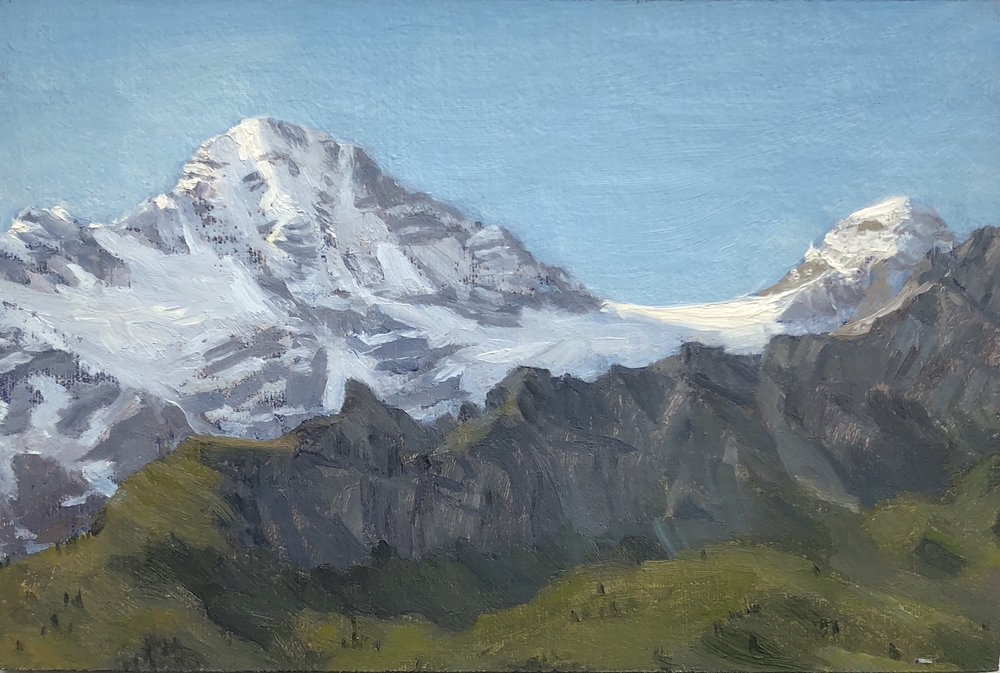 View of the Breithorn from Murren Oil on linen panel 4 by 6 inches 2016