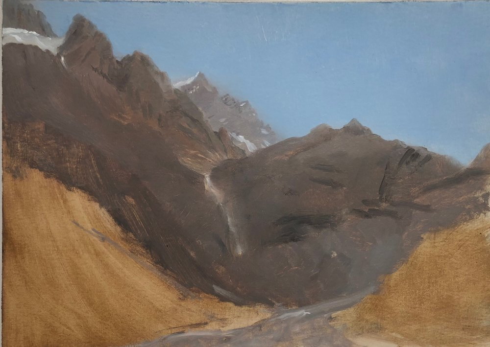 Gasterntal Valley Oil on paper 8 by 10 inches 2017