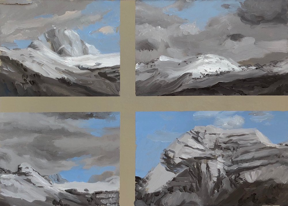 View of the Grand Tetons from Idaho 2018 9 by 12 inches Oil on paper