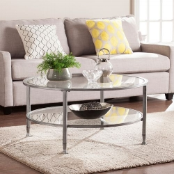 Pier 1 Kathryn Silver Metal Round Coffee Table