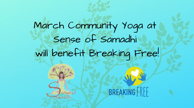 Sense of Samadhi  offers a free Community Yoga class with a monetary or item donation every Friday. Each month a new organization will be benefited.