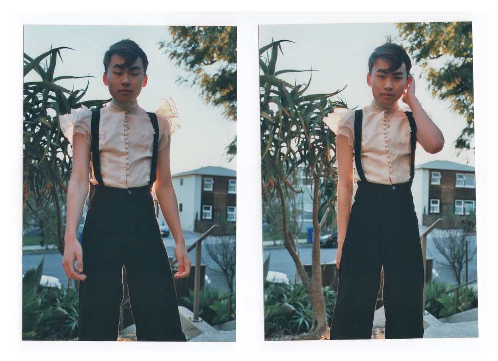Brian wears our    Woody Suspender Pants    with a vintage blouse