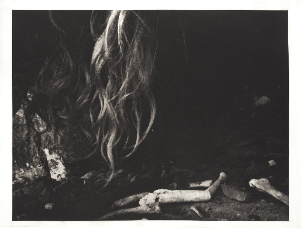 """Hair and Bones"", 22"" x 30"", photogravure of cave on my land with hair and bones"