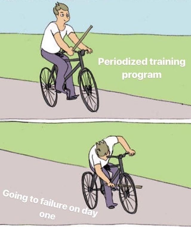 This meme has launched itself into our Top 10 Favorites. . Additionally, it's this very mistake that we believe contributes most to training plateaus, training regression, and training related injuries. . Well done on the meme @mirceabjr!