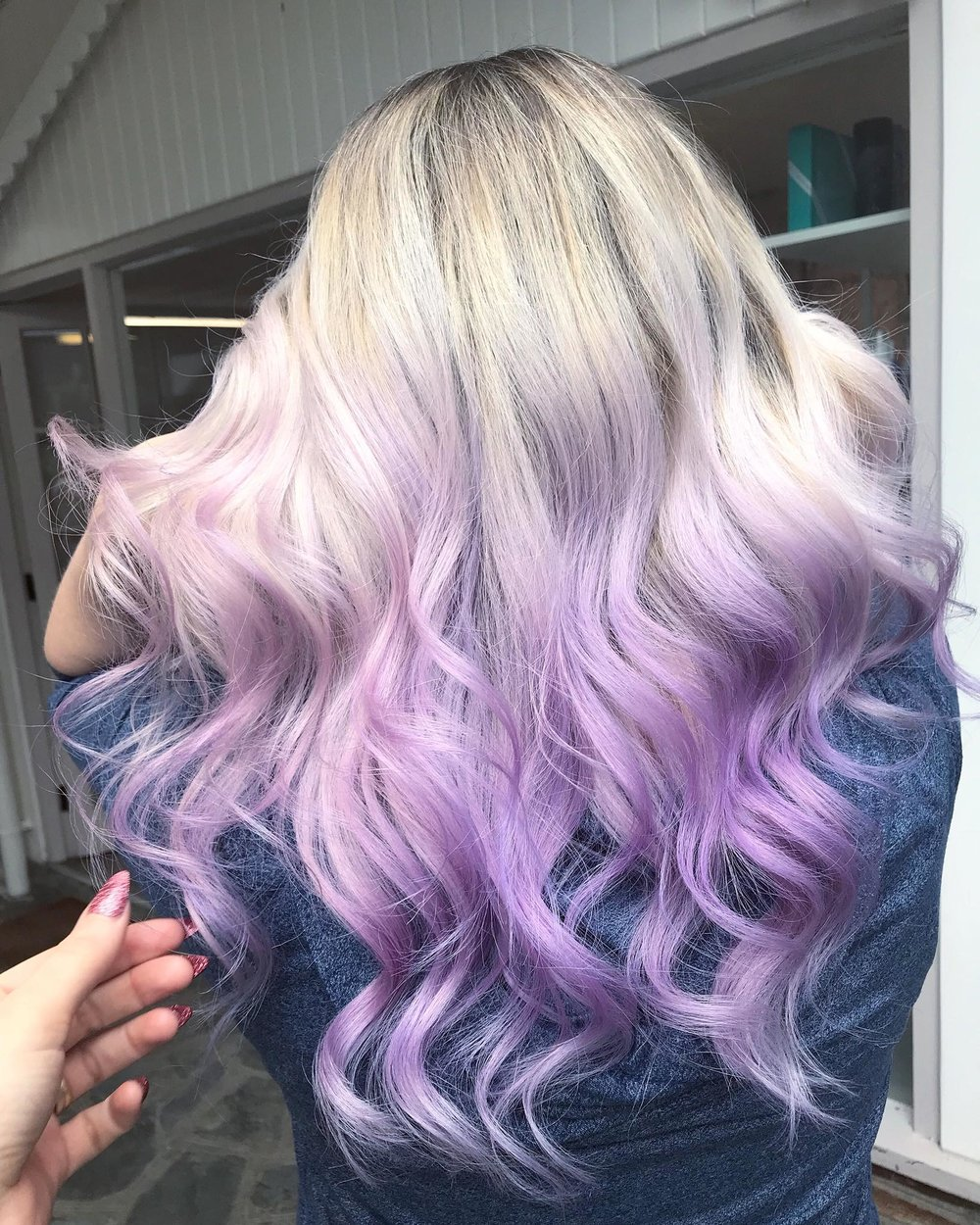 Hannah Woodgates Hair Design Long curls purple lilac blonde | Image courtesy of Hannah Woodgates